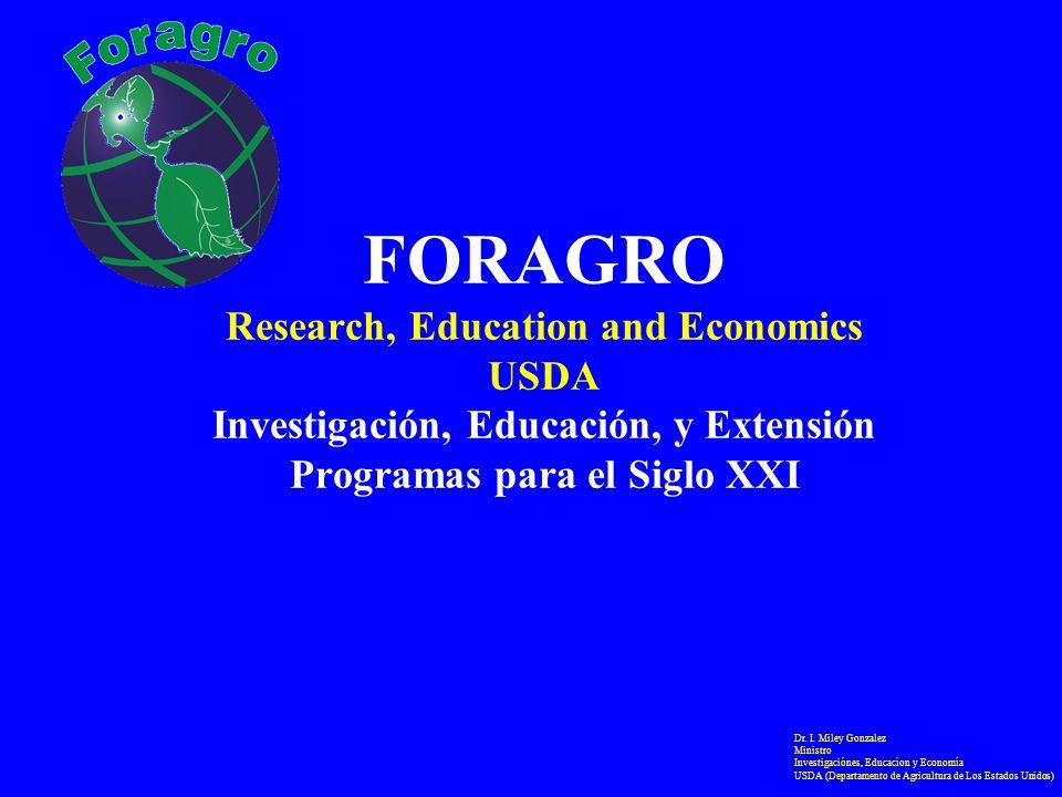 FORAGRO Research, Education and Economics USDA Investigación, Educación, y Extensión Programas para el Siglo XXI Dr. I. Miley Gonzalez Ministro Invest