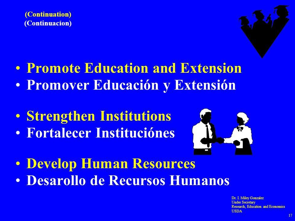 (Continuation) (Continuacíon) Promote Education and Extension Promover Educación y Extensión Strengthen Institutions Fortalecer Instituciónes Develop Human Resources Desarollo de Recursos Humanos Dr.