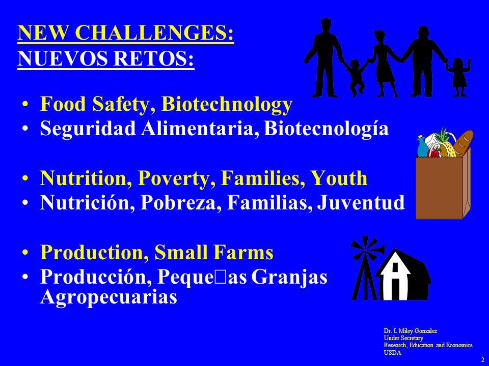 NEW CHALLENGES: NUEVOS RETOS: Food Safety, Biotechnology Seguridad Alimentaria, Biotecnología Nutrition, Poverty, Families, Youth Nutrición, Pobreza, Familias, Juventud Production, Small Farms Producción, Peque Á as Granjas Agropecuarias Dr.