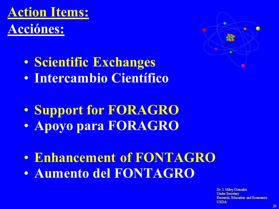 Action Items: Acciónes: Scientific Exchanges Intercambio Científico Support for FORAGRO Apoyo para FORAGRO Enhancement of FONTAGRO Aumento del FONTAGR