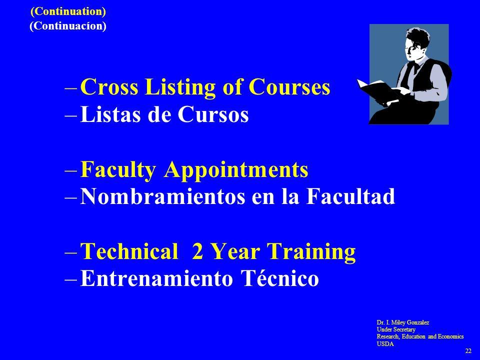 (Continuation) (Continuacíon) –Cross Listing of Courses –Listas de Cursos –Faculty Appointments –Nombramientos en la Facultad –Technical 2 Year Training –Entrenamiento Técnico Dr.