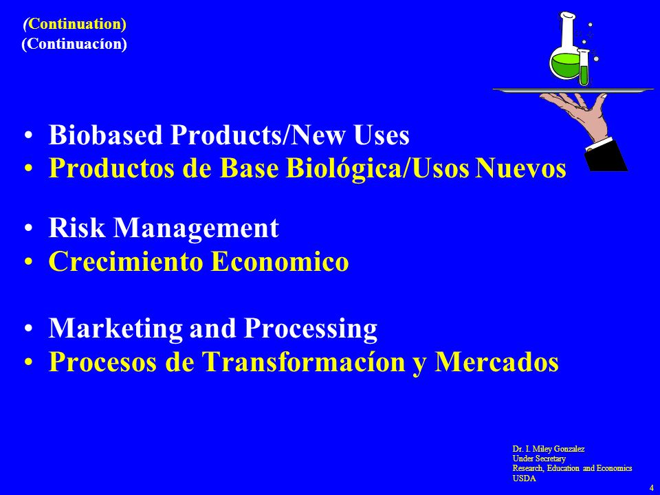 (Continuation) (Continuacíon) Biobased Products/New Uses Productos de Base Biológica/Usos Nuevos Risk Management Crecimiento Economico Marketing and Processing Procesos de Transformacíon y Mercados Dr.