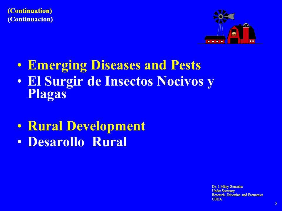 Emerging Diseases and Pests El Surgir de Insectos Nocivos y Plagas Rural Development Desarollo Rural Dr. I. Miley Gonzalez Under Secretary Research, E