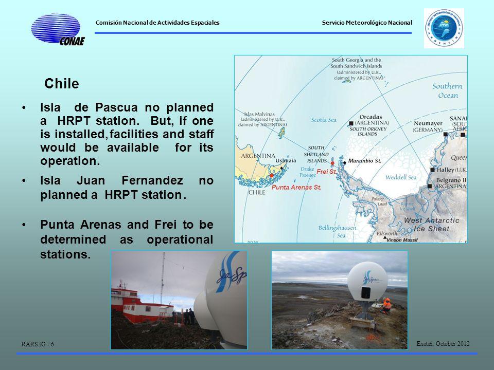 Comisión Nacional de Actividades Espaciales Exeter, October 2012 RARS IG - 6 Servicio Meteorológico Nacional Isla de Pascua no planned a HRPT station.