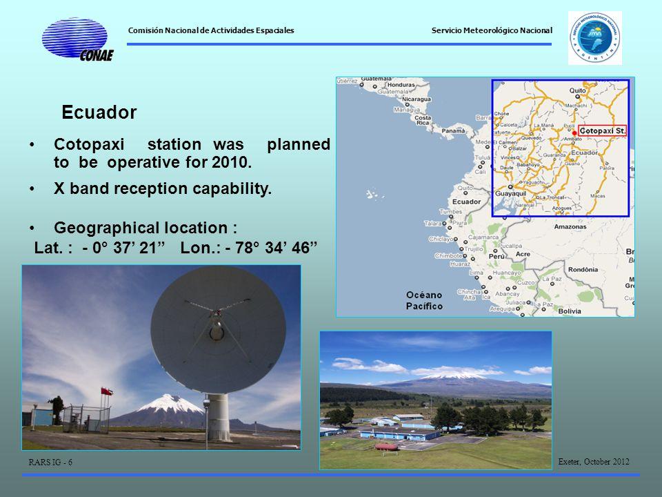 Comisión Nacional de Actividades Espaciales Exeter, October 2012 RARS IG - 6 Servicio Meteorológico Nacional Ecuador Cotopaxi station was planned to be operative for 2010.