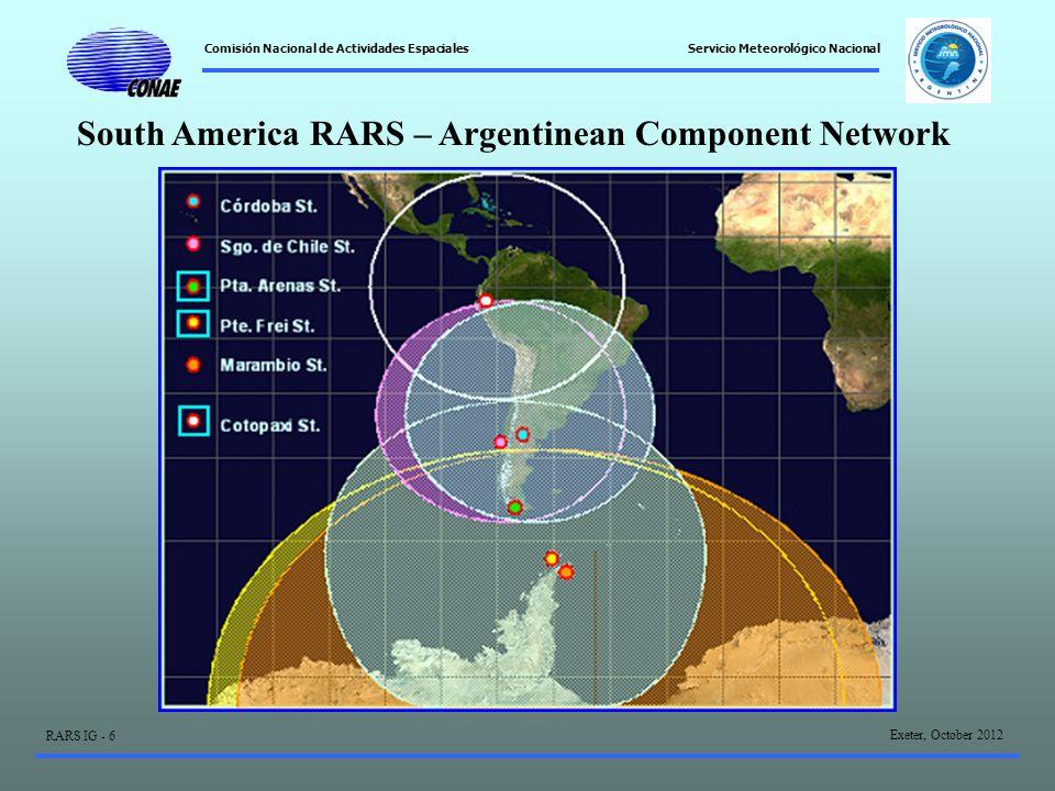 Comisión Nacional de Actividades Espaciales Exeter, October 2012 RARS IG - 6 Servicio Meteorológico Nacional South America RARS – Argentinean Component Network
