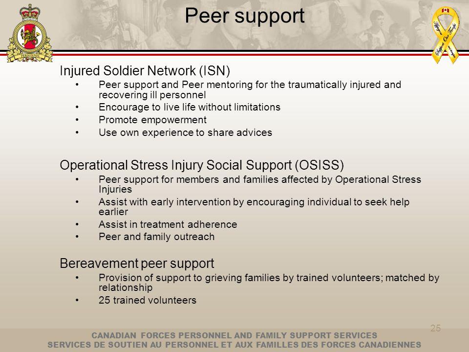 CANADIAN FORCES PERSONNEL AND FAMILY SUPPORT SERVICES SERVICES DE SOUTIEN AU PERSONNEL ET AUX FAMILLES DES FORCES CANADIENNES 25 Peer support Injured