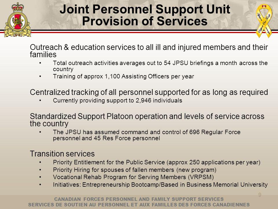 CANADIAN FORCES PERSONNEL AND FAMILY SUPPORT SERVICES SERVICES DE SOUTIEN AU PERSONNEL ET AUX FAMILLES DES FORCES CANADIENNES 9 Joint Personnel Suppor