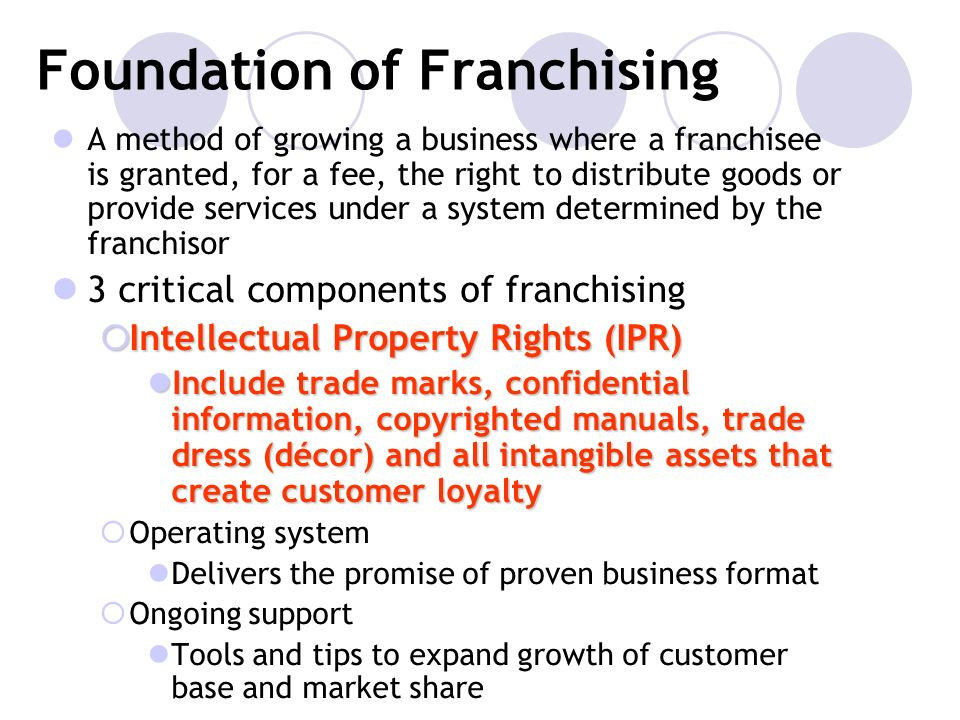 Foundation of Franchising A method of growing a business where a franchisee is granted, for a fee, the right to distribute goods or provide services u
