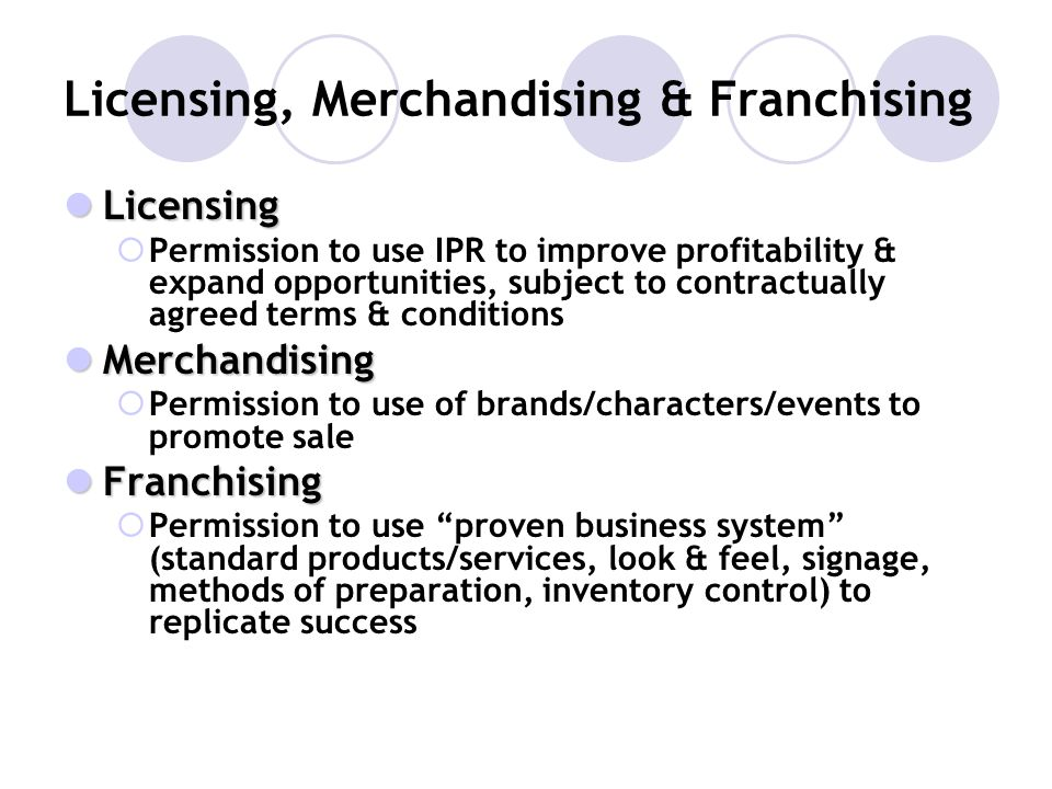 Licensing, Merchandising & Franchising Licensing Licensing Permission to use IPR to improve profitability & expand opportunities, subject to contractu