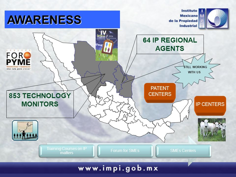 AWARENESS 64 IP REGIONAL AGENTS 853 TECHNOLOGY MONITORS Training Courses on IP matters Forum for SMEsSMEs Centers PATENT CENTERS IP CENTERS STILL WORKING WITH US
