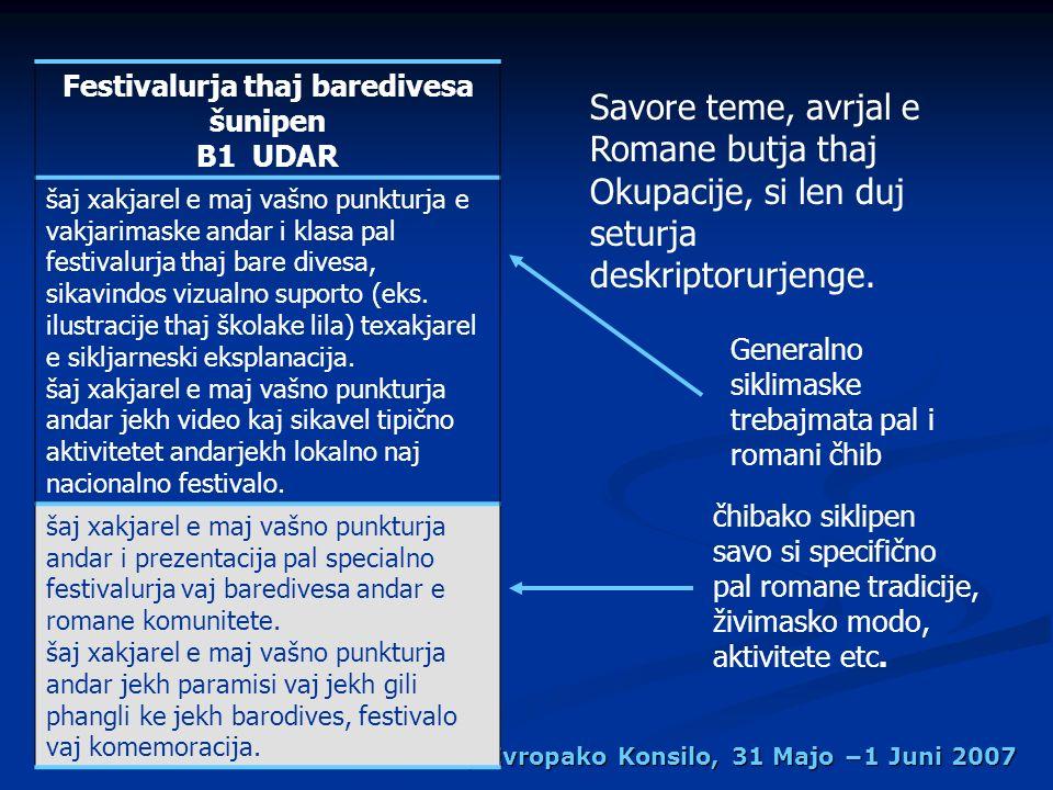 Kurrikulako Kadro vash i Romani, Evropako Konsilo, 31 Majo 1 Juni 2007 Savore teme, avrjal e Romane butja thaj Okupacije, si len duj seturja deskriptorurjenge.