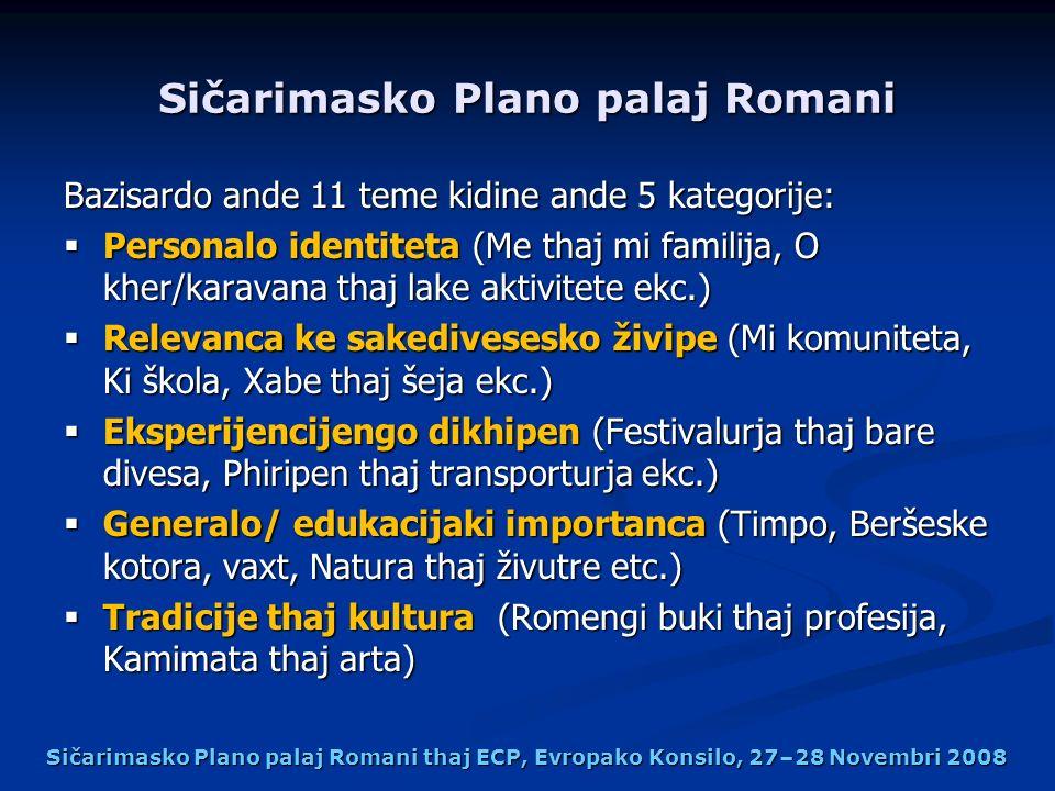 Sičarimasko Plano palaj Romani Bazisardo ande 11 teme kidine ande 5 kategorije: Personalo identiteta (Me thaj mi familija, O kher/karavana thaj lake a