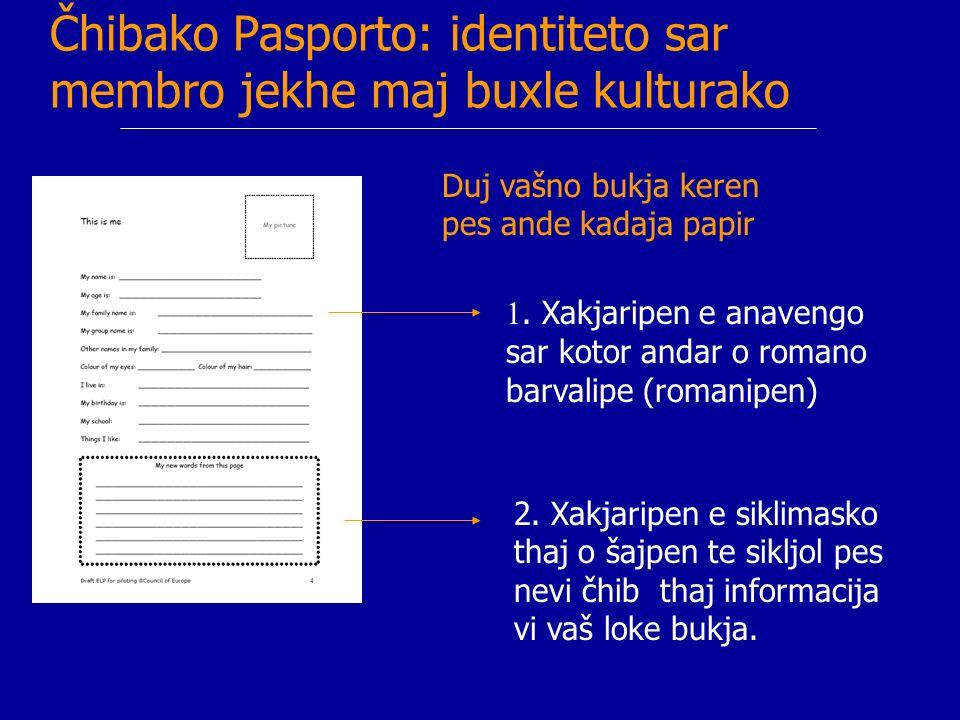 Čhibake eksperience sar kotor andar o identiteto Duj papira te registruin pes personalno eksperijence thaj šajmata ande čhiba.