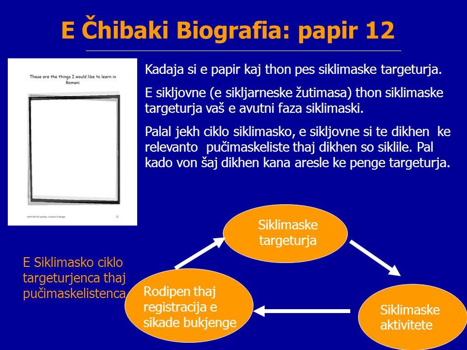 E Čhibaki Biografia: papir 12 Kadaja si e papir kaj thon pes siklimaske targeturja.