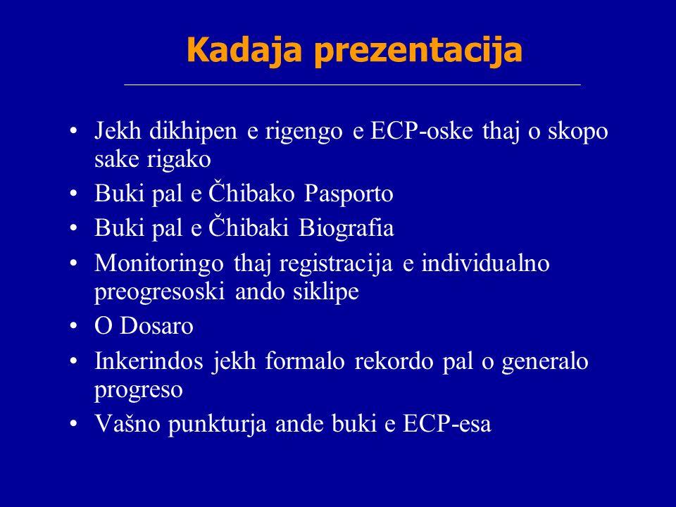 Kadaja prezentacija Jekh dikhipen e rigengo e ECP-oske thaj o skopo sake rigako Buki pal e Čhibako Pasporto Buki pal e Čhibaki Biografia Monitoringo t