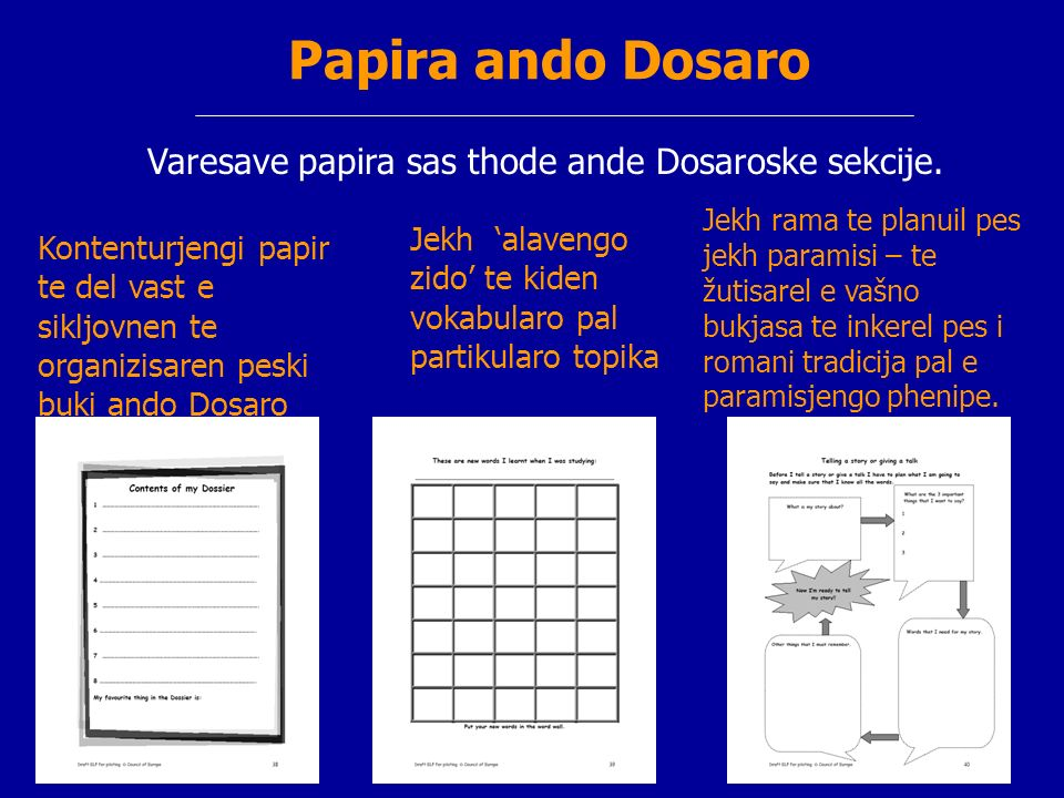 Papira ando Dosaro Varesave papira sas thode ande Dosaroske sekcije. Kontenturjengi papir te del vast e sikljovnen te organizisaren peski buki ando Do