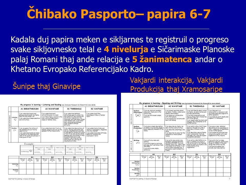 Čhibako Pasporto– papira 6-7 Kadala duj papira meken e sikljarnes te registruil o progreso svake sikljovnesko telal e 4 nivelurja e Sičarimaske Planos