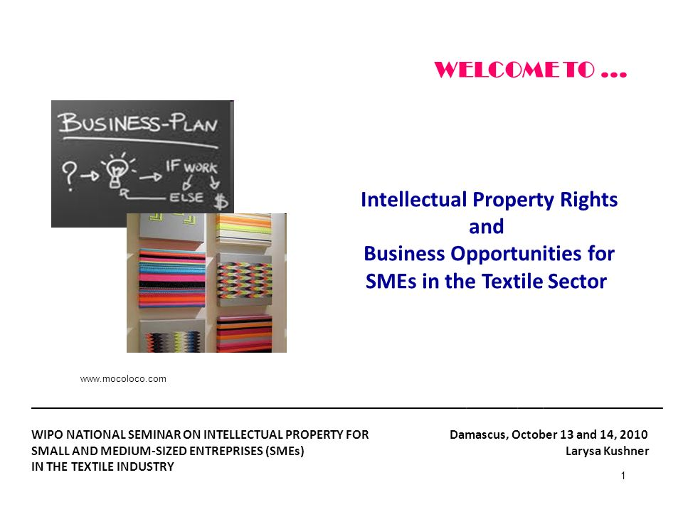 1 Intellectual Property Rights and Business Opportunities for SMEs in the Textile Sector WELCOME TO... _______________________________________________