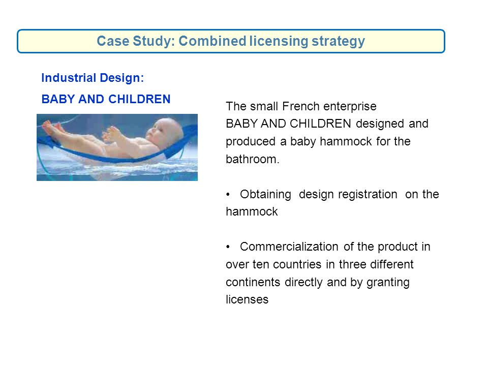 Industrial Design: BABY AND CHILDREN The small French enterprise BABY AND CHILDREN designed and produced a baby hammock for the bathroom. Obtaining de