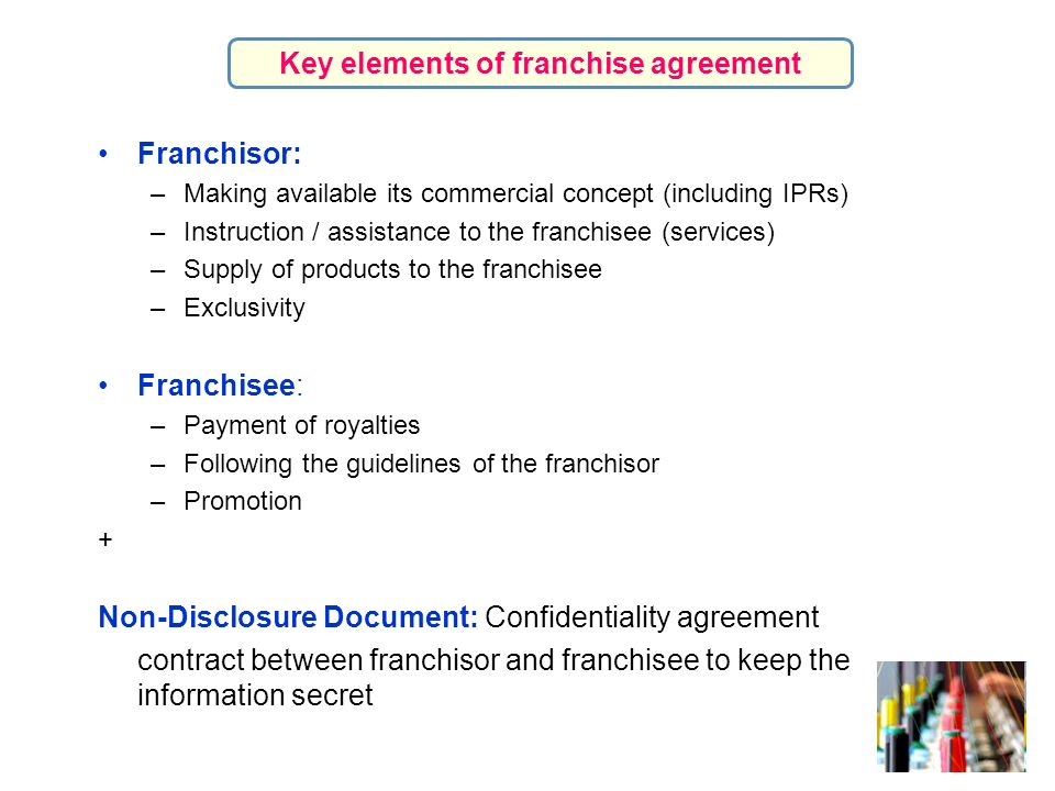 Franchisor: –Making available its commercial concept (including IPRs) –Instruction / assistance to the franchisee (services) –Supply of products to th