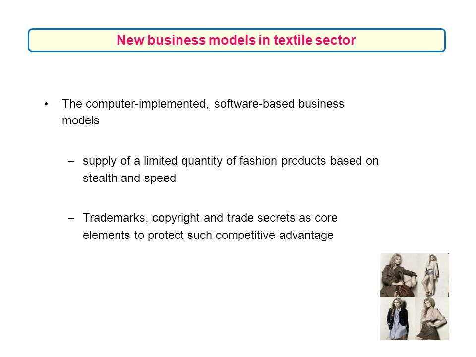 The computer-implemented, software-based business models –supply of a limited quantity of fashion products based on stealth and speed –Trademarks, cop