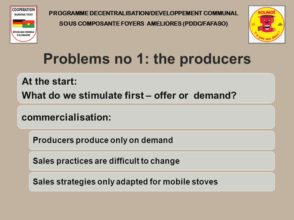 PROGRAMME DECENTRALISATION/DEVELOPPEMENT COMMUNAL SOUS COMPOSANTE FOYERS AMELIORES (PDDC/FAFASO) Problems no 1: the producers At the start: What do we stimulate first – offer or demand.