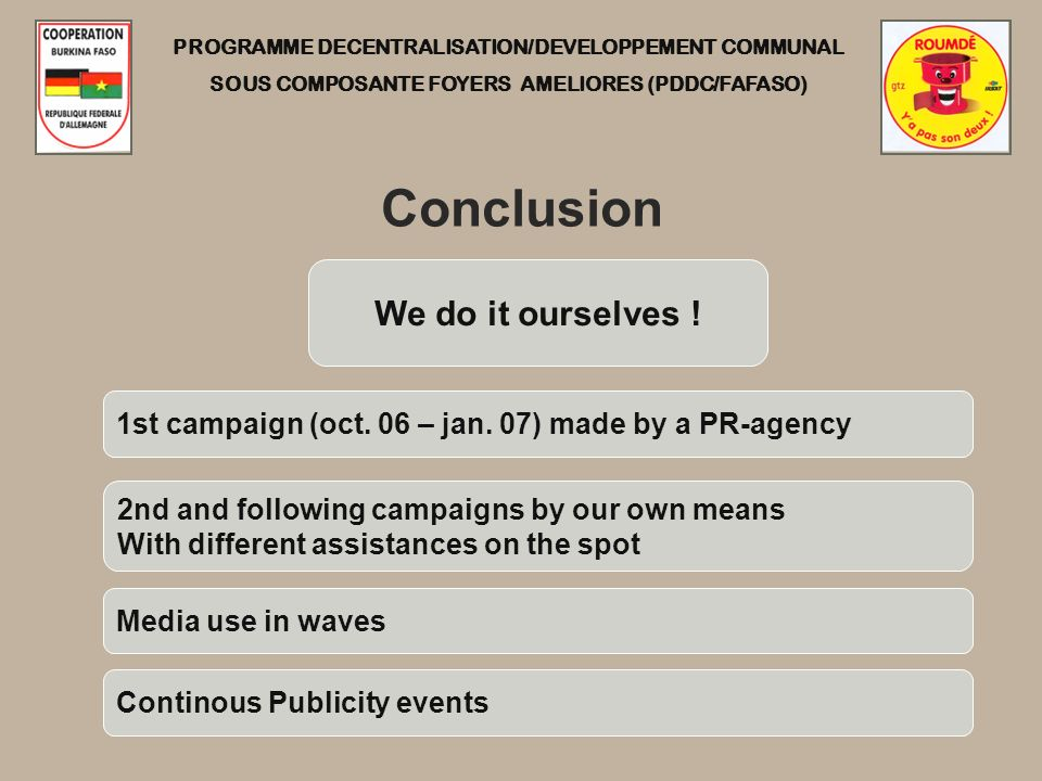 PROGRAMME DECENTRALISATION/DEVELOPPEMENT COMMUNAL SOUS COMPOSANTE FOYERS AMELIORES (PDDC/FAFASO) Conclusion We do it ourselves ! 1st campaign (oct. 06