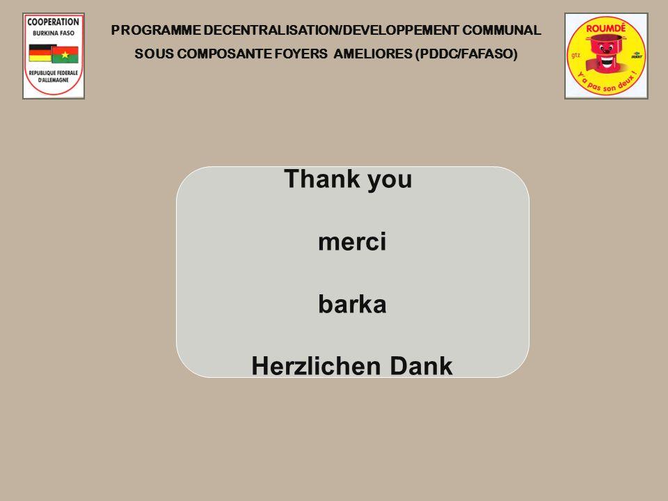 PROGRAMME DECENTRALISATION/DEVELOPPEMENT COMMUNAL SOUS COMPOSANTE FOYERS AMELIORES (PDDC/FAFASO) Thank you merci barka Herzlichen Dank