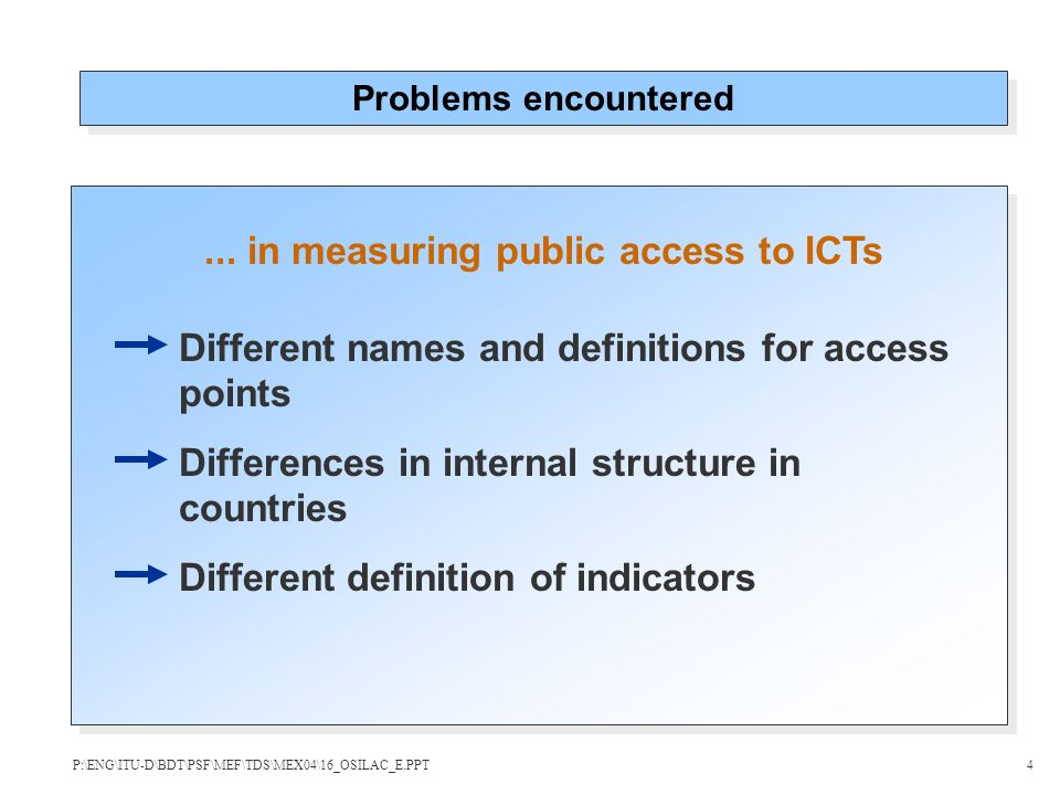 ... in measuring public access to ICTs Problems encountered Different names and definitions for access points Differences in internal structure in cou