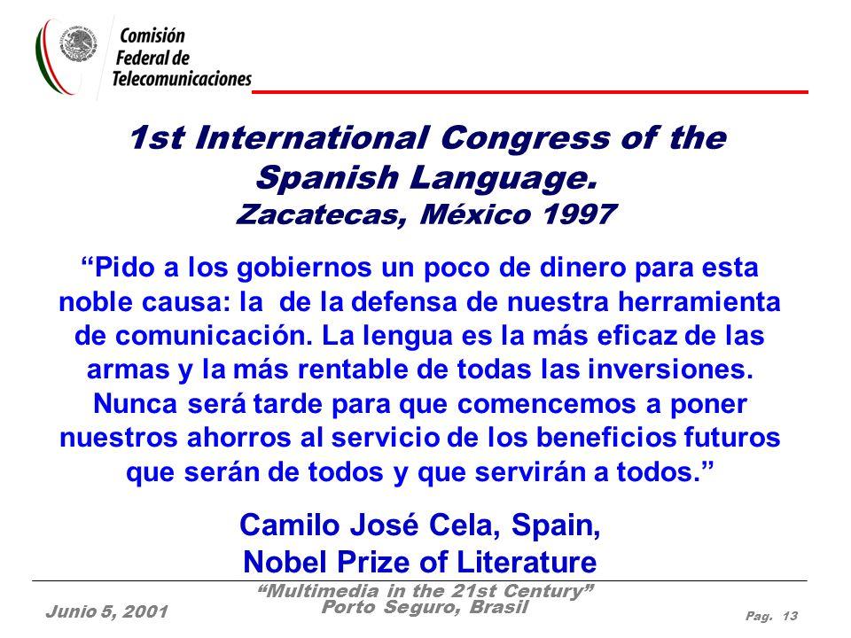 Multimedia in the 21st Century Porto Seguro, Brasil Junio 5, 2001 Pag. 13 Pido a los gobiernos un poco de dinero para esta noble causa: la de la defen