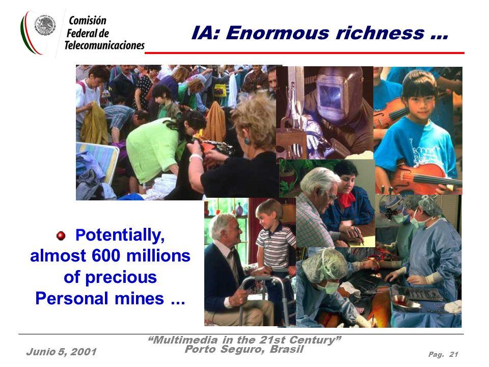 Multimedia in the 21st Century Porto Seguro, Brasil Junio 5, 2001 Pag. 21 IA: Enormous richness... P otentially, almost 600 millions of precious Perso