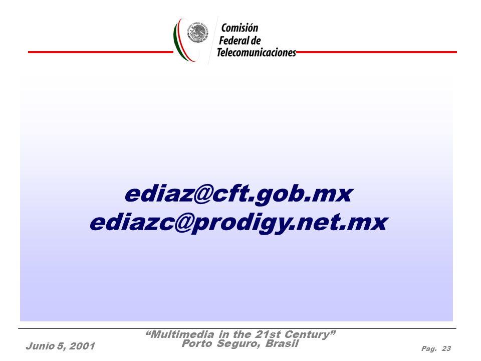Multimedia in the 21st Century Porto Seguro, Brasil Junio 5, 2001 Pag. 23 ediaz@cft.gob.mx ediazc@prodigy.net.mx