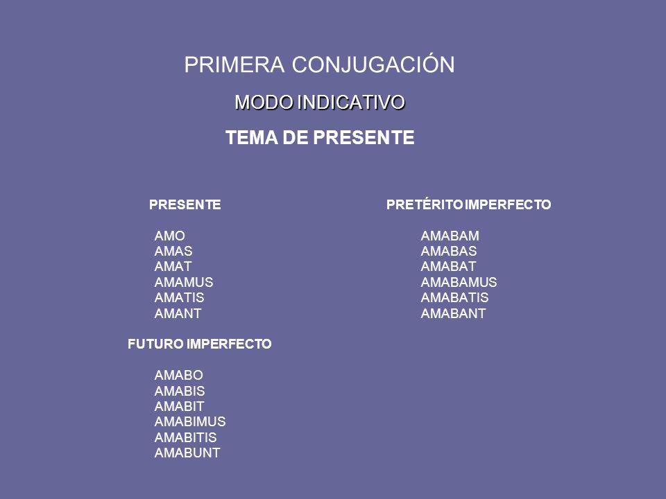 MODO INDICATIVO PRIMERA CONJUGACIÓN MODO INDICATIVO TEMA DE PRESENTE PRESENTE PRETÉRITO IMPERFECTO AMOAMABAM AMASAMABAS AMATAMABAT AMAMUSAMABAMUS AMATISAMABATIS AMANTAMABANT FUTURO IMPERFECTO AMABO AMABIS AMABIT AMABIMUS AMABITIS AMABUNT