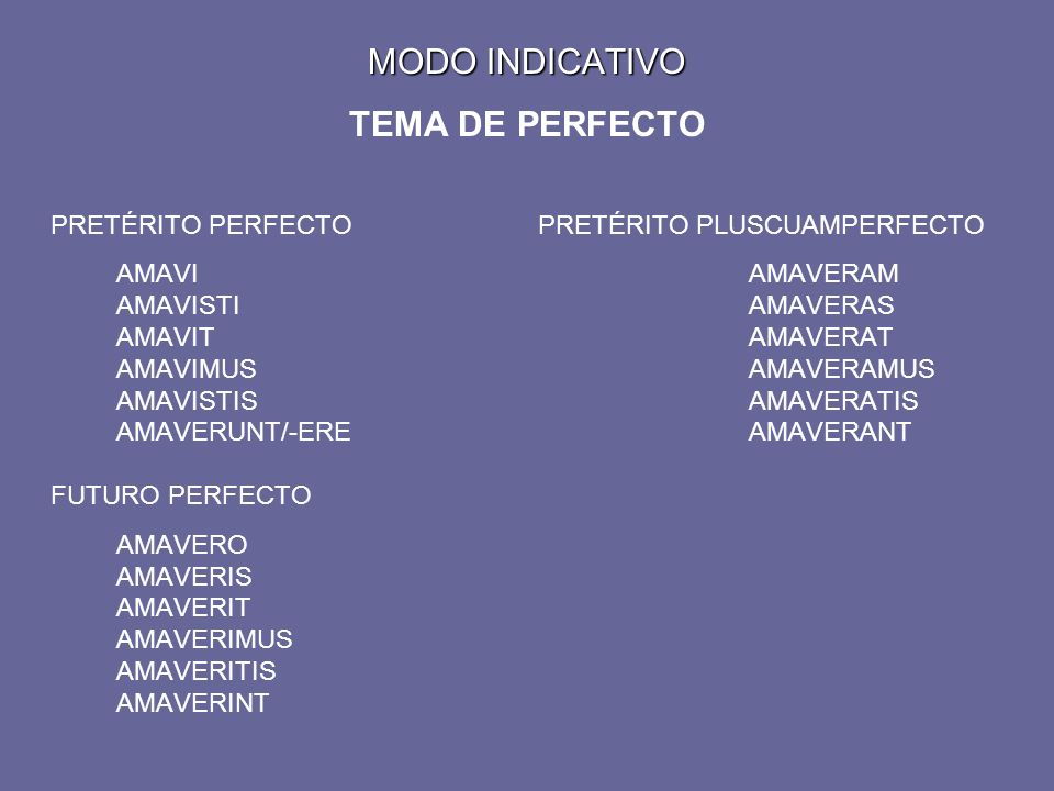 MODO INDICATIVO TEMA DE PERFECTO PRETÉRITO PERFECTOPRETÉRITO PLUSCUAMPERFECTO AMAVIAMAVERAM AMAVISTIAMAVERAS AMAVITAMAVERAT AMAVIMUSAMAVERAMUS AMAVISTISAMAVERATIS AMAVERUNT/-EREAMAVERANT FUTURO PERFECTO AMAVERO AMAVERIS AMAVERIT AMAVERIMUS AMAVERITIS AMAVERINT