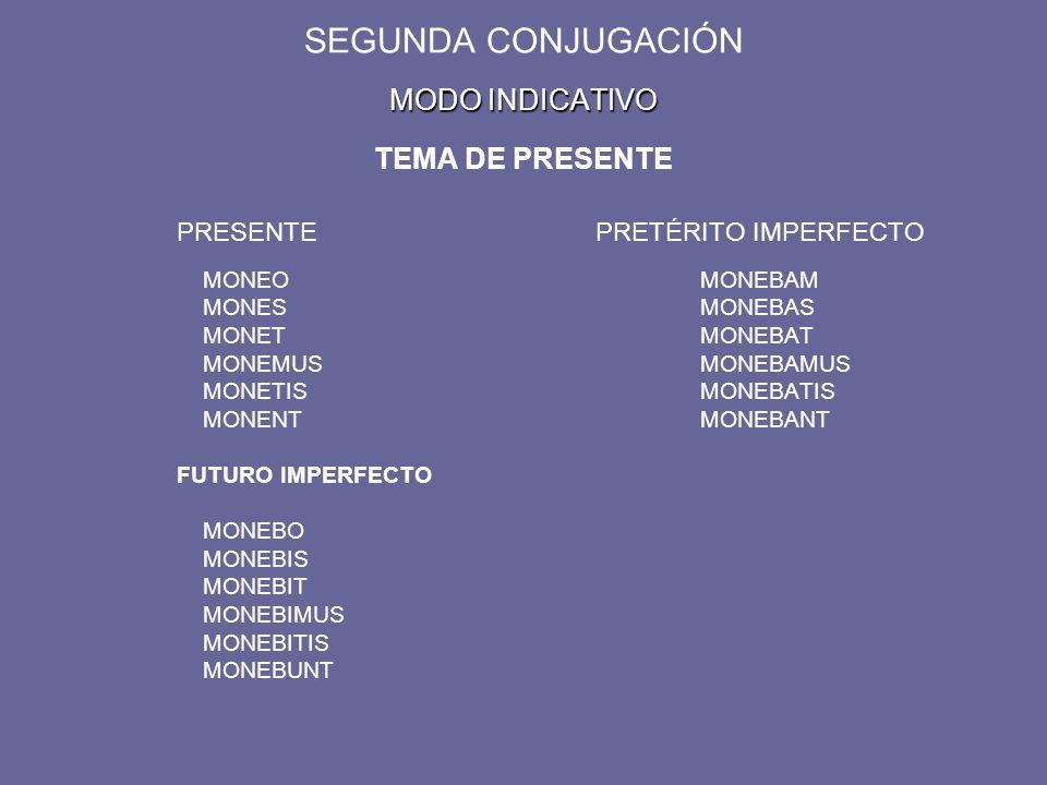 MODO INDICATIVO SEGUNDA CONJUGACIÓN MODO INDICATIVO TEMA DE PRESENTE PRESENTEPRETÉRITO IMPERFECTO MONEOMONEBAM MONESMONEBAS MONETMONEBAT MONEMUSMONEBAMUS MONETISMONEBATIS MONENTMONEBANT FUTURO IMPERFECTO MONEBO MONEBIS MONEBIT MONEBIMUS MONEBITIS MONEBUNT
