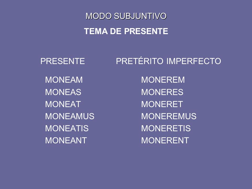 MODO SUBJUNTIVO MODO SUBJUNTIVO TEMA DE PRESENTE PRESENTEPRETÉRITO IMPERFECTO MONEAMMONEREM MONEASMONERES MONEATMONERET MONEAMUSMONEREMUS MONEATISMONERETIS MONEANTMONERENT