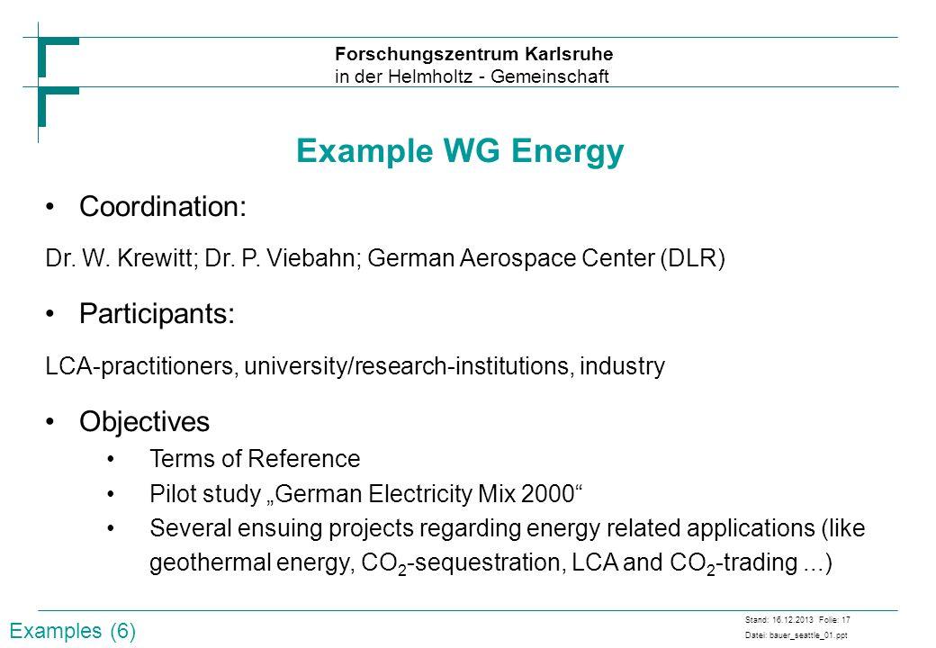 Forschungszentrum Karlsruhe in der Helmholtz - Gemeinschaft Stand: 16.12.2013 Folie: 17 Datei: bauer_seattle_01.ppt Example WG Energy Coordination: Dr