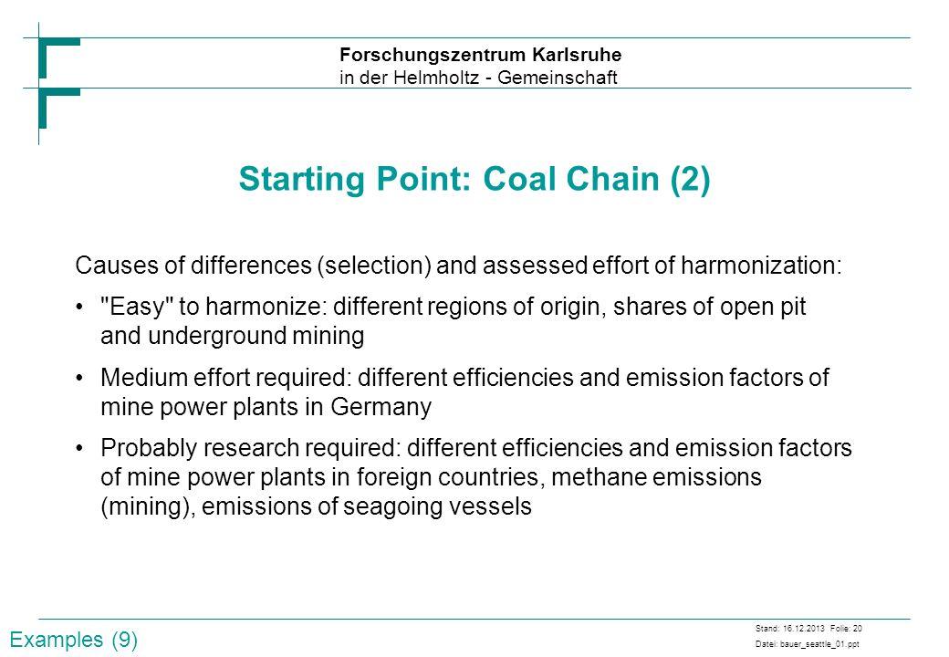 Forschungszentrum Karlsruhe in der Helmholtz - Gemeinschaft Stand: 16.12.2013 Folie: 20 Datei: bauer_seattle_01.ppt Starting Point: Coal Chain (2) Cau