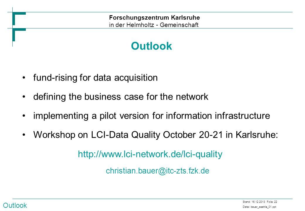 Forschungszentrum Karlsruhe in der Helmholtz - Gemeinschaft Stand: 16.12.2013 Folie: 22 Datei: bauer_seattle_01.ppt fund-rising for data acquisition d