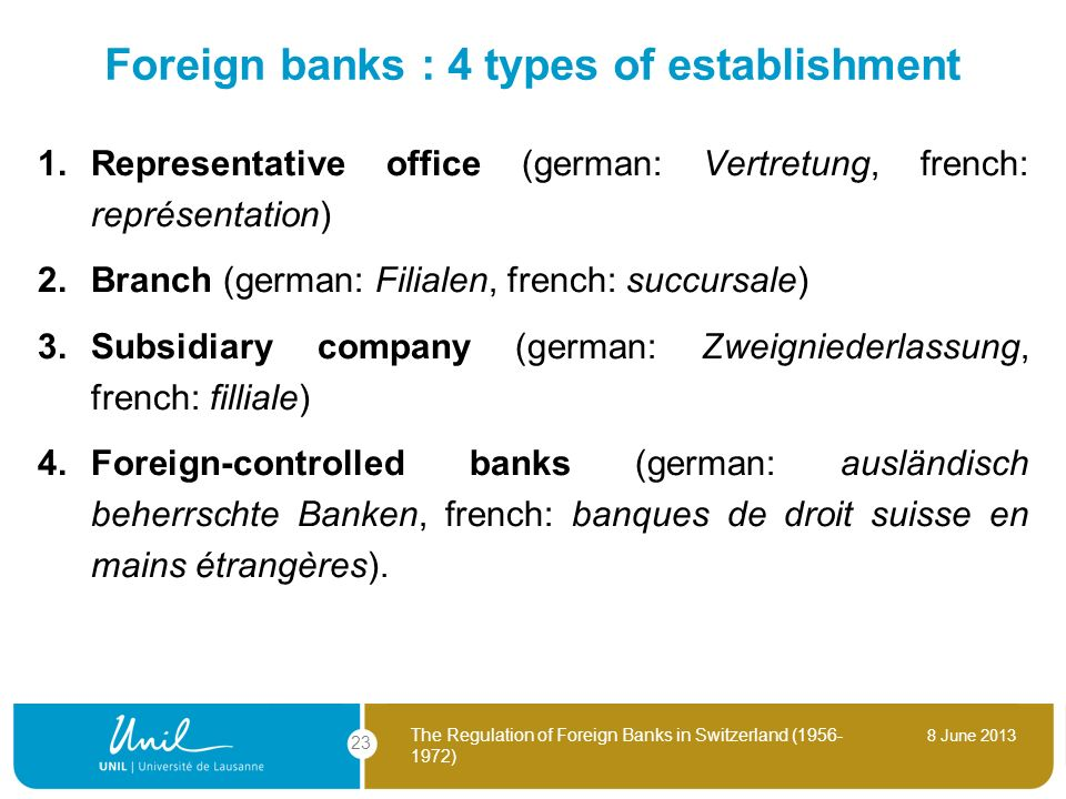 8 June 2013 The Regulation of Foreign Banks in Switzerland (1956- 1972) 23 Foreign banks : 4 types of establishment 1. Representative office (german: