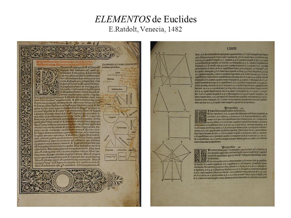 ELEMENTOS de Euclides E.Ratdolt, Venecia, 1482