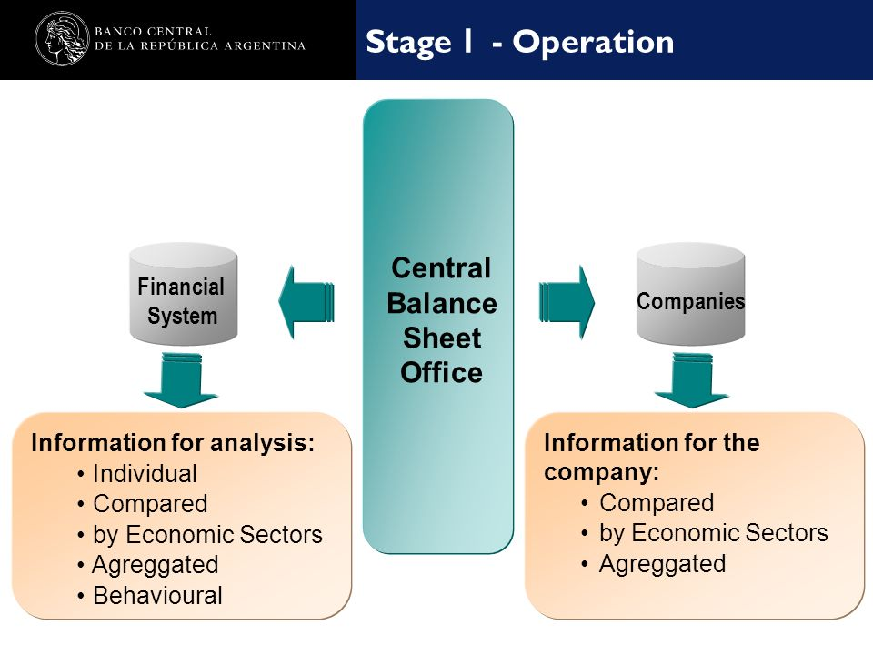 Nombre de la presentación en cuerpo 17 Funcionamiento - I Etapa Central Balance Sheet Office Information for analysis: Individual Compared by Economic