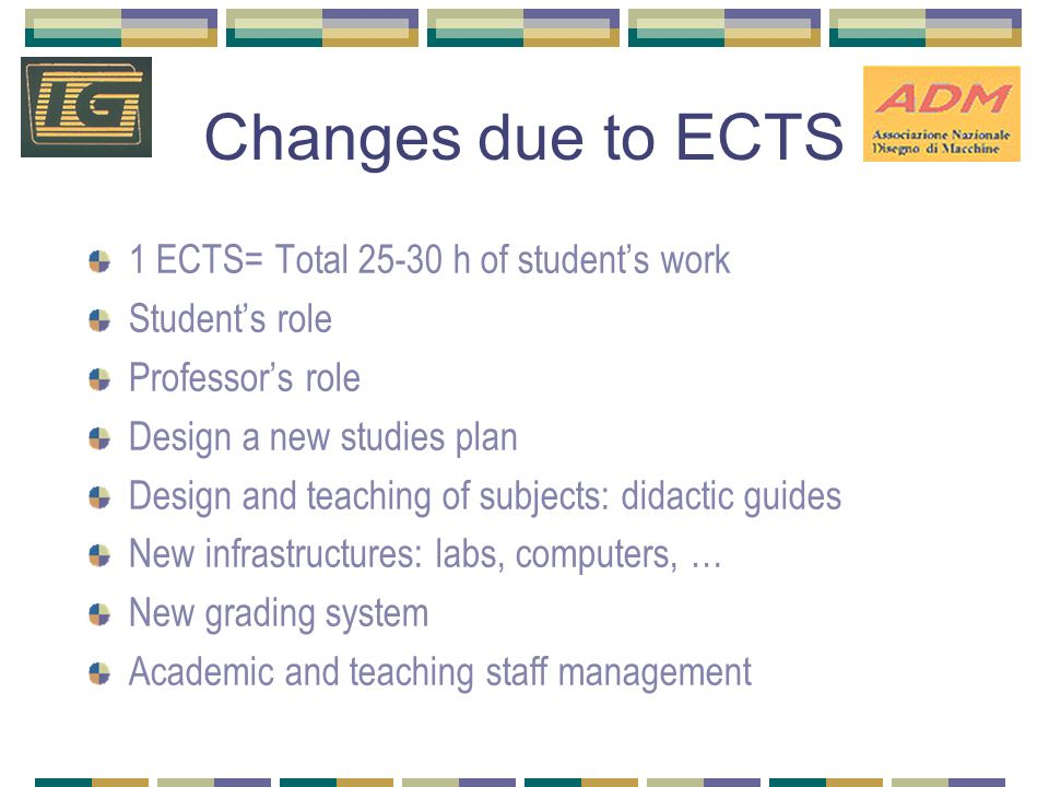 Changes due to ECTS 1 ECTS= Total 25-30 h of students work Students role Professors role Design a new studies plan Design and teaching of subjects: di