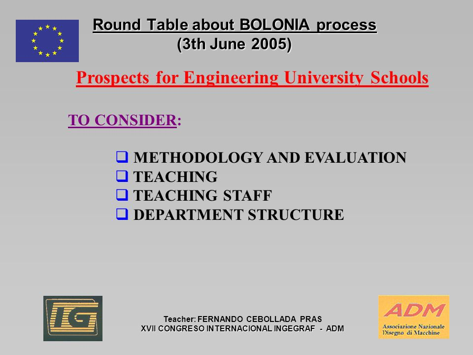 Round Table about BOLONIA process (3th June 2005) Teacher: FERNANDO CEBOLLADA PRAS XVII CONGRESO INTERNACIONAL INGEGRAF - ADM Prospects for Engineering University Schools TO CONSIDER: METHODOLOGY AND EVALUATION TEACHING TEACHING STAFF DEPARTMENT STRUCTURE