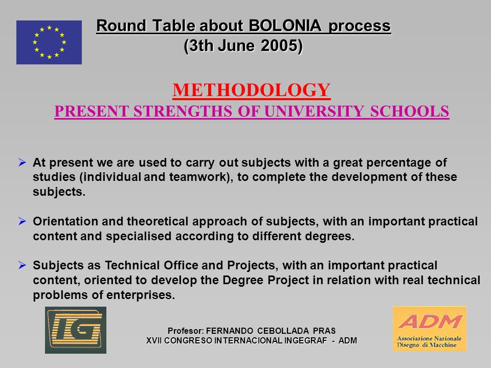Round Table about BOLONIA process (3th June 2005) Profesor: FERNANDO CEBOLLADA PRAS XVII CONGRESO INTERNACIONAL INGEGRAF - ADM METHODOLOGY PRESENT STRENGTHS OF UNIVERSITY SCHOOLS At present we are used to carry out subjects with a great percentage of studies (individual and teamwork), to complete the development of these subjects.