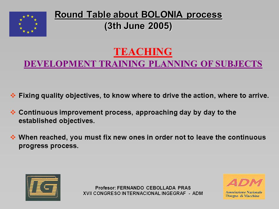 Round Table about BOLONIA process (3th June 2005) Profesor: FERNANDO CEBOLLADA PRAS XVII CONGRESO INTERNACIONAL INGEGRAF - ADM TEACHING DEVELOPMENT TRAINING PLANNING OF SUBJECTS Fixing quality objectives, to know where to drive the action, where to arrive.