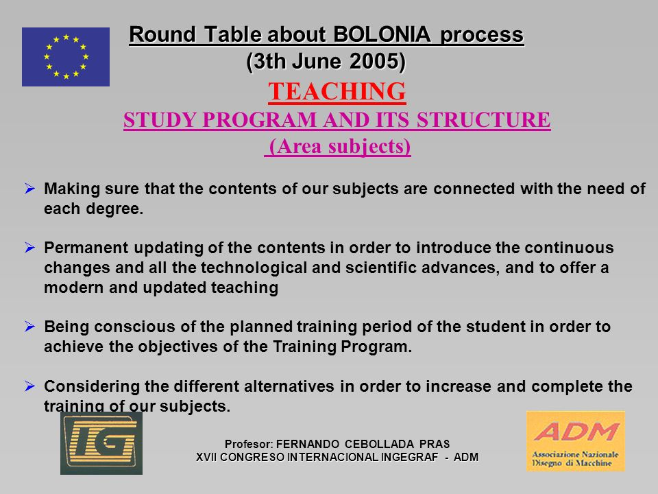 Round Table about BOLONIA process (3th June 2005) Profesor: FERNANDO CEBOLLADA PRAS XVII CONGRESO INTERNACIONAL INGEGRAF - ADM TEACHING STUDY PROGRAM AND ITS STRUCTURE (Area subjects) Making sure that the contents of our subjects are connected with the need of each degree.