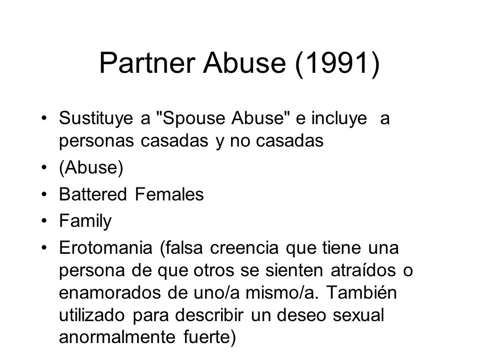 Partner Abuse (1991) Sustituye a