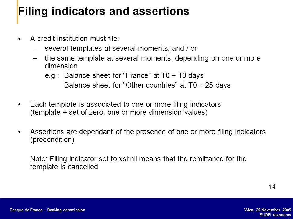 Banque de France – Secrétariat général de la Commission bancaire Wien, 20 November 2009 SURFI taxonomy Banque de France – Banking commission 14 Filing
